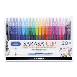 Zebra Pen Sarasa Clip Gel Retractable, Fine 0.5 mm, Assorted Ink/Barrel, 20/Set