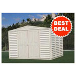 Duramax 10' x 8' Stronglasting Woodbridge Vinyl Storage Shed With Foundation Kit
