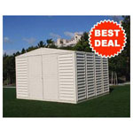 Duramax 10' x10' Stronglasting Woodbridge Vinyl Storage Shed With Foundation Kit