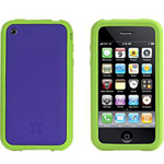 Imation XtremeMac TuffWrap Accent - Case for smartphone - silicone - purple, green - Apple iPhone 3G S