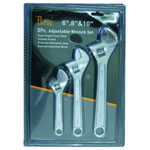 "Pony 3 Piece Adjustable Wrench Set 6"" 8"" 10"" C"