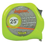 "Jorgensen 25"" x 1"" E-z Read Tape Measure Neon Yellow"