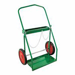 Anthony Low-Rail Frame Dual-Cylinder Cart, For 9.5in-15in dia., 14in Solid Rubber/Steel Rim