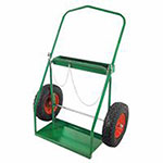 Anthony Low-Rail Frame Dual-Cylinder Carts, Holds 9.5in-15in dia., 16 in Pneumatic Wheels