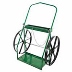 Anthony Low-Rail Frame Dual-Cylinder Carts, For 9.5in-15in Cylinder, 24 in Steel Wheels