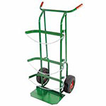 Anthony Dual-Cylinder Delivery Carts, Holds 9in-10in dia. Cylinders, 10in Pneumatic Wheels