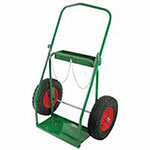 Anthony Low-Rail Frame Dual-Cylinder Carts, Holds 9.5in Cylinders, 16in Pneumatic Wheels