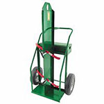 Anthony Heavy-Duty Frame Dual-Cylinder Cart, For 9.5in Cylinders, 16in Solid Rubber Wheels