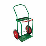 Anthony High-Rail Frame Dual-Cylinder Cart, For 9.5in Cylinders, 14in Solid Rubber Wheels