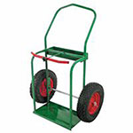 Anthony High-Rail Frame Dual-Cylinder Cart, For 9.5in Cylinders, 16in Pneumatic Wheels