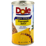 Dole Processed Foods Juice Pineapple 6 Ounce