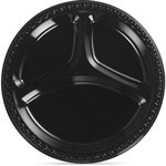 "Huhtamaki 3 Compartment Plastic Plate, 9"", Black"