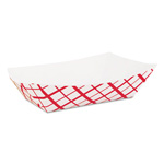 Southern Champion 0421 Red Check Paper Food Tray, 2.5 lb Capacity