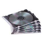 Fellowes NEATO - Storage CD Slim Jewel Case - Capacity: 1 CD, 1 DVD - Black, Clear (pack Of 50)