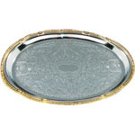 "Carlisle 608913 18"" x 13"" Oval Chrome Tray with Gold Border"