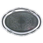 "American Metalcraft 9.5"" x 6.75"" Oval Chrome Tray"