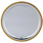 American Metalcraft Round Tray with Gold Trim, 12""