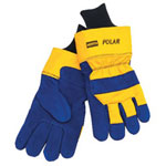 North Safety Products Mens North Polar Ins Glove Blue Lthr w/Ylw Back