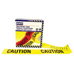 "North Safety Products Barricade Tape, 3"" x 1000 ft, ""Caution"" Text, Yellow/Black"