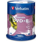 Verbatim 100 x DVD+R - 4.7 GB 16X - White - Ink Jet Printable Surface - Storage Media