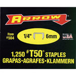 "Arrow Fastener 50014 T50 1/4"" Staple1250/pk .050 Wire"