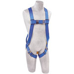 Protecta First Full Body Harnesses, Back D-Ring, Pass Thru Buckle Legs, Universal, Blue