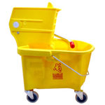 Continental 26 Quart Splash Guard™ Mop Bucket/Wringer Combo, Yellow