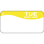 "Daymark MoveMark Day of the Week Food Safety Labels, 1""x2"", Tuesday, Yellow"