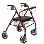 Drive Medical Bariatric Heavy Duty Four Wheel Rollator, Red