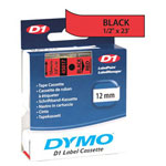 "Dymo D1 - Polyester Self-adhesive Label Tape - Black On Red - Roll (0.5"" x 23') - 1 Roll(s)"