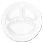 Dart Container 10CPWC White 3 Compartment Non Laminated Foam Plates, 10 1/4""