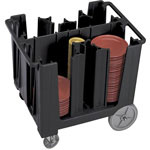 Cambro Black Adjustable Dish Caddy with 6 Towers