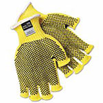 Memphis Glove PVC Dotted Kevlar String Knit Gloves, Large, Knit-Wrist, Yellow, Dots 2 Side