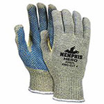 Memphis Glove Hero Gloves, Large, Salt-and-Pepper/Blue