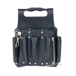 IDEAL Blk Premium Leather Toolpouch w/Shoulder Strap