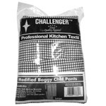 Challenger Large Black/White Chefs Pants w/Elastic Waste