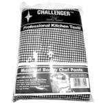 Challenger Extra Large Black/White Chefs Pants w/Elastic Waste