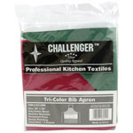 Challenger 1 Pocket Fixed Neck Red/White/Green Bib Apron