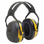 3M PELTOR X Series Ear Muffs, 24 dB NRR, Black/Yellow, Over the Head