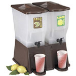 Tablecraft 3 Gallon Brown Double Reservoir Iced Tea Dispenser