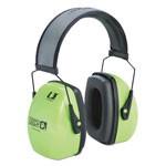 Howard Leight L3HV Hi-Visibility Earmuffs, Reflective Headband, 30NRR, Green/Black