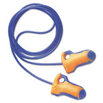 Howard Leight LT-30 Laser Trak Single-Use Earplugs, Corded, 32NRR, Orange/Blue, 100 Pairs