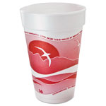 Dart Horizon Foam Cup, Hot/Cold, 16oz., Printed, Cranberry/White, 25/Bag, 40/CT