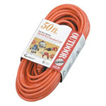 Coleman Cable Vinyl Outdoor Extension Cord, 50ft, Three-Outlets, Orange