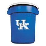 Rubbermaid Team Brute Round Container w/Lid, Univ. of Kentucky, 32 Gal, Plastic, Blue/White