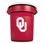 Rubbermaid Team Brute Round Container w/Lid, Univ. of Oklahoma, 32 Gal, Plastic, Red/White