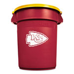 Rubbermaid Team Brute Round Container w/Lid, Chiefs, 32 Gal, Plastic, Red/White/Orange