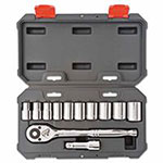 Crescent 12 Piece Drive Socket Wrench Set with Blow Molded Case, 1/2 in, SAE
