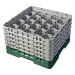 "Cambro Camrack 20 Compartment 10 1/8"" Glass Rack, Green"