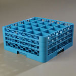 Carlisle 25-Compartment Glass Rack with 3 Extenders, Blue